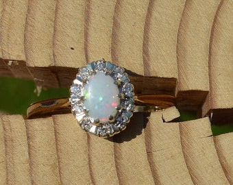 9ct Opal and Diamond Cluster Ring