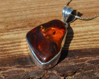 Silver and Amber Pendant With Chain