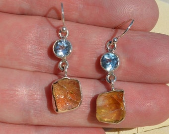 Silver Blue Topaz and Citrine Earrings, Mismatched
