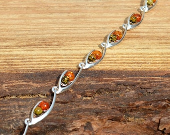 Sterling Silver Green and Cognac Amber Bracelet