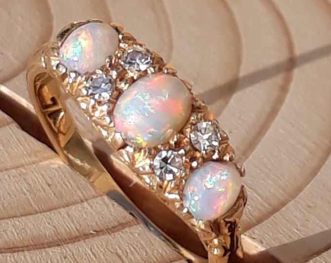 Antique 18ct Opal and Diamond Ring