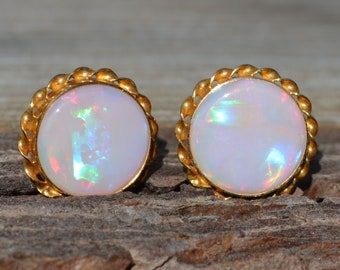 Large 9ct Gold Opal Stud Earrings, Round Australian Opals