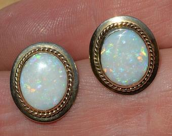 Large 9ct Gold Opal Clip on Earrings, non pierced ears