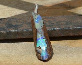 Silver Boulder Opal Pendant, Large Queensland Opal