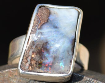 Large Silver Boulder Opal Ring, Australian Opal