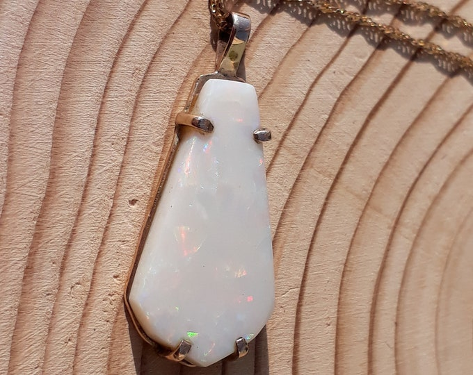 9ct Opal Pendant, Handmade, Vintage, Abstract.