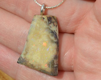 Silver and Australian Opal Pendant, Large  Double Sided Opal
