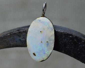 Oval Silver Boulder Opal Pendant, Australian Opal