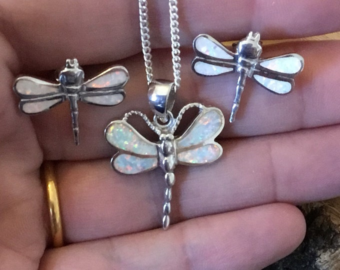 Sterling Silver Opal Dragonfly Pendant and Earrings Set