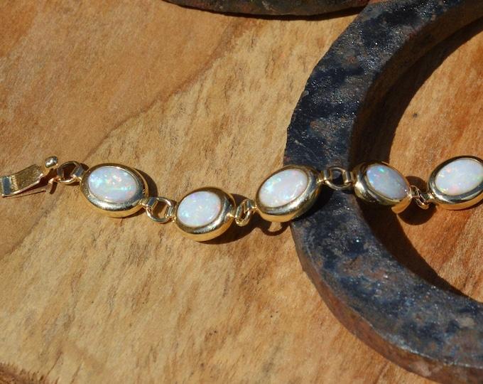 Featured listing image: 14ct Gold Opal Bracelet, 14k Gold Australian Opal