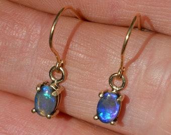 Dainty 9ct Gold Black Opal Drop Earrings, Genuine Australian Opal