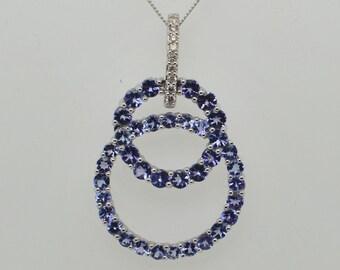 18ct White Gold Tanzanite and Diamond Circle Pendant, Stunning