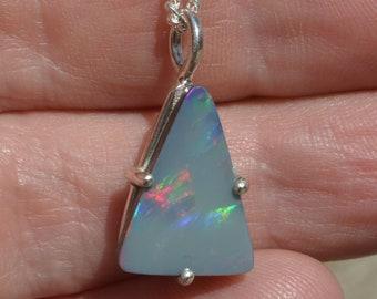 Lightning Ridge Crystal Opal Doublet Pendant, Triangle Opal