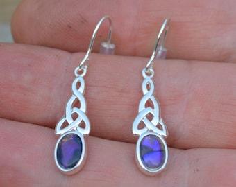 Dainty Silver and Black Opal Earrings, Australian Opal
