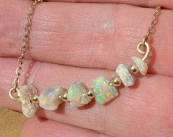 9ct Gold Australian Opal Necklace, Lightning Ridge Crystal Opal