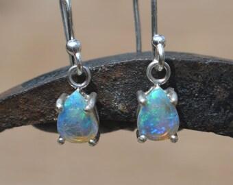 Silver Australian Opal Teardrop Earrings, Blue and Green Crystal Opals