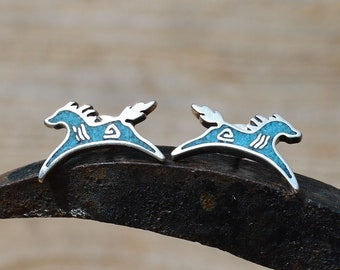 Silver and Kingman Turquoise Horse Earrings