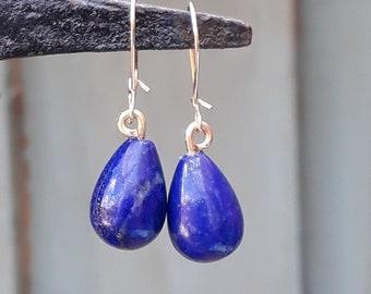 Gold Lapis Lazuli Drop Earrings