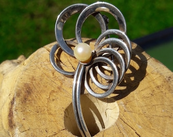 Sterling Silver and Cultured Pearl Brooch, West Germany
