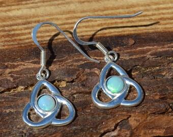 Celtic Silver and Opal Earrings, Australian Opal