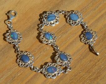 Silver Australian Opal Bracelet, Opal Doublets