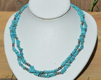 Double Strand Kingman Turquoise and Silver Necklace