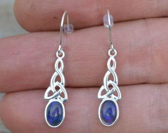 Celtic Silver Black Opal Earrings, Australian Opal