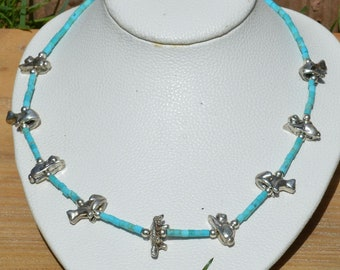 Kingman Turquoise Fetish Necklace, Solid Silver Fetishes