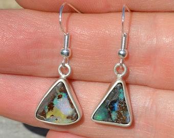 Silver Boulder Opal Earrings, Mismatched Opals