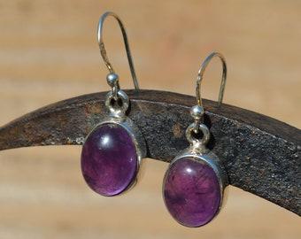 Silver Oval Amethyst Drop Earrings