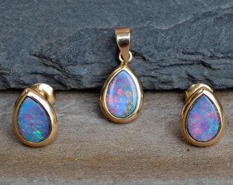 Gold Australian Opal Doublet Earrings and Pendant Set, 9ct Gold Teardrop