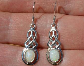 Silver and Opal Celtic Earrings, Australian Opal