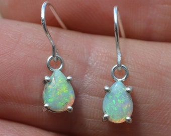 Silver Opal Teardrop Drop Earrings, Australian Crystal Opals