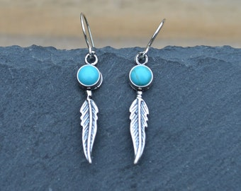 Turquoise Feather Earrings, Sterling Silver, Genuine Turquoise, Drop Earrings