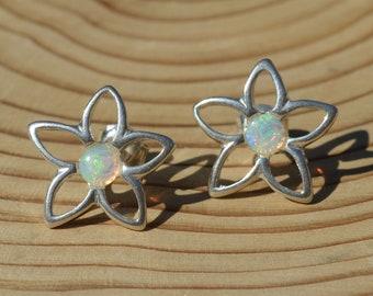 Silver Opal Flower Stud Earrings