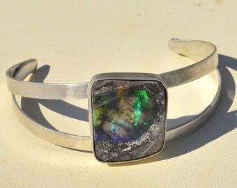 Silver Boulder Opal Bangle, Handmade