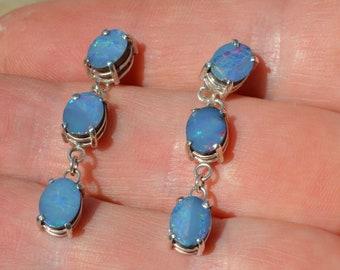 Silver Opal Doublet Drop Earrings, Australian Opal