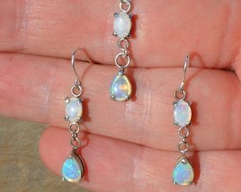 Silver Opal Earrings and Pendant Set, Australian Opals