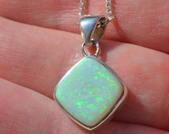 Silver and Opal Pendant with chain