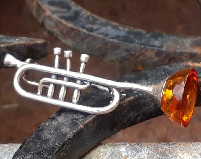 Silver and Amber Trumpet Brooch