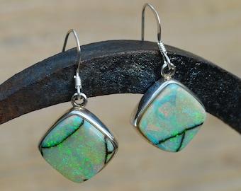 Large Silver Boulder Opal Drop Earrings