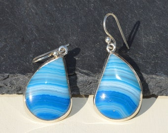 Large Silver and Agate Earrings, Blue Banded Agate