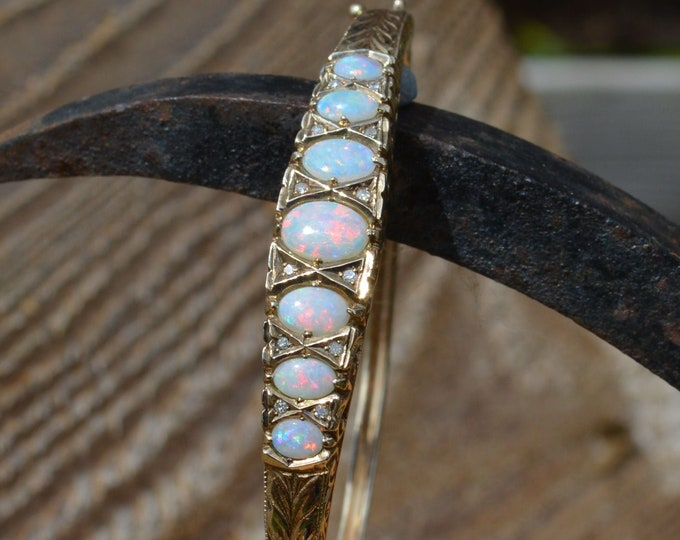 Featured listing image: Vintage 9ct Gold Opal and Diamond Bangle