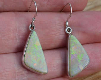 Large Boulder Opal Silver Earrings