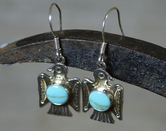 Turquoise and Silver Thunderbird Drop Earrings