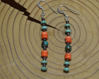 Silver Turquoise Coral Drop Earrings, Long Turquoise and Coral Drops