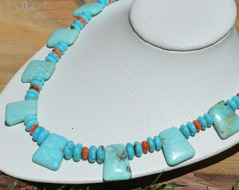 Large Kingman Turquoise and Coral Necklace, Chunky Turquoise