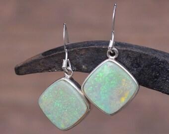Large Silver Opal Earrings