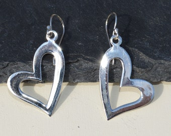 Large Silver Heart Drop Earrings