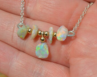 Silver and Gold Australian Opal Necklace, Lightning Ridge